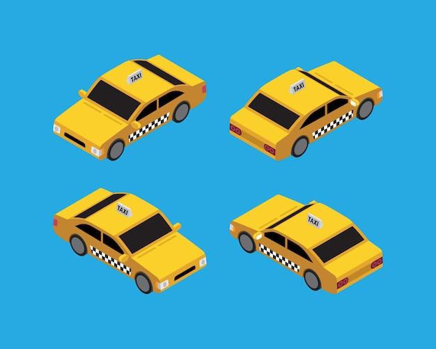 Vetor vintage isométrico de táxi de táxi