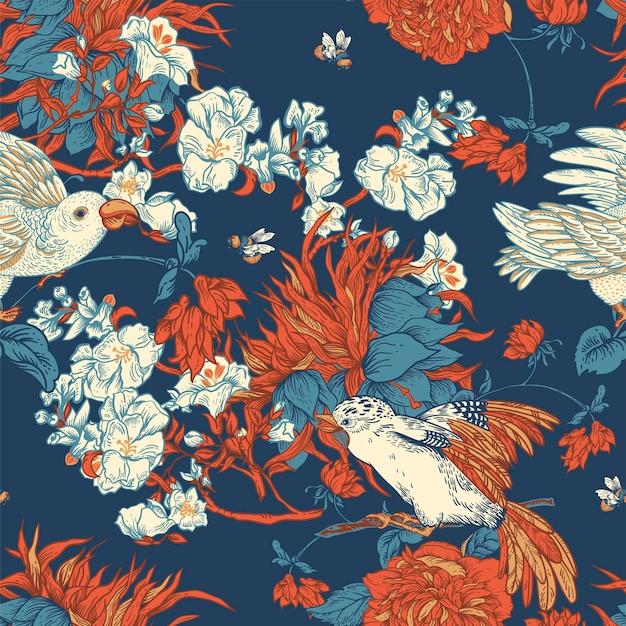 Vetor vintage pássaro com flores padrão sem emenda. ilustração floral natural, textura floral florescendo. fundo botânico do núcleo da regência.