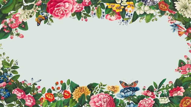 Vetor vintage quadro de flores desenhadas à mão