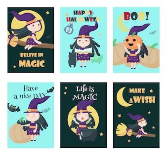 Vetores conjunto de cartões com giro bruxas de halloween