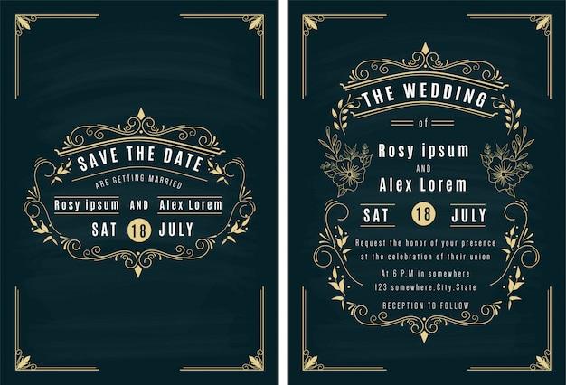 Vetores conjunto de cartões de convite com elementos coleção de casamento.