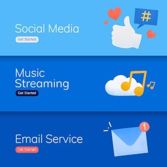 Vetores de banner de aplicativo de mídia social