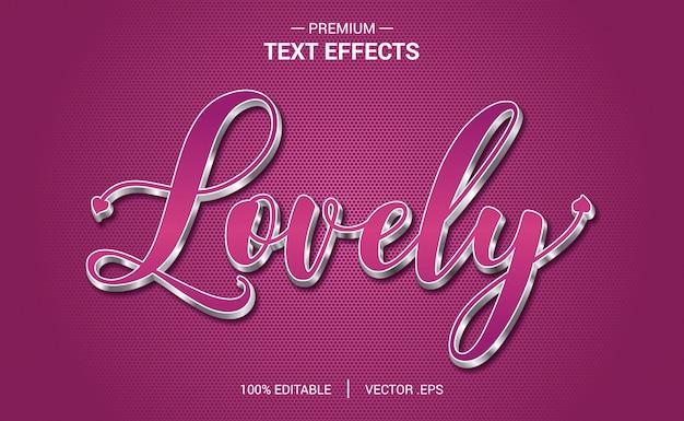 Vetores de efeito de texto adorável, conjunto elegante rosa roxo resumo efeito de texto dos namorados