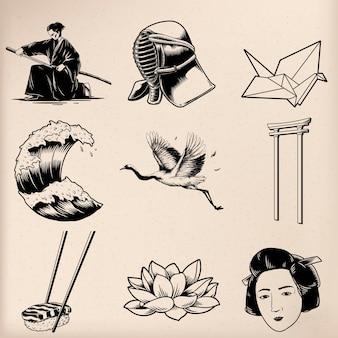 Vetores de estilo de tradição japonesa
