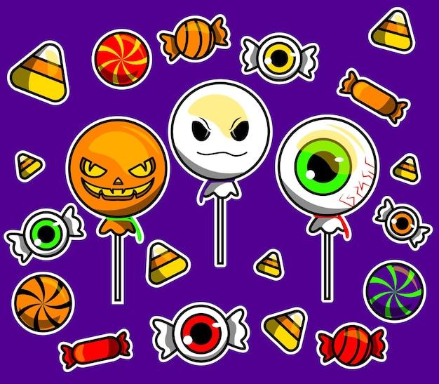 Vetores ilustrados de doces de halloween