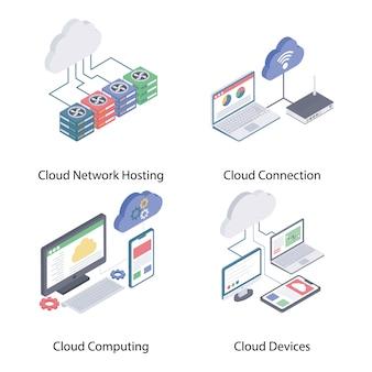 Vetores isométricos de rede de nuvem