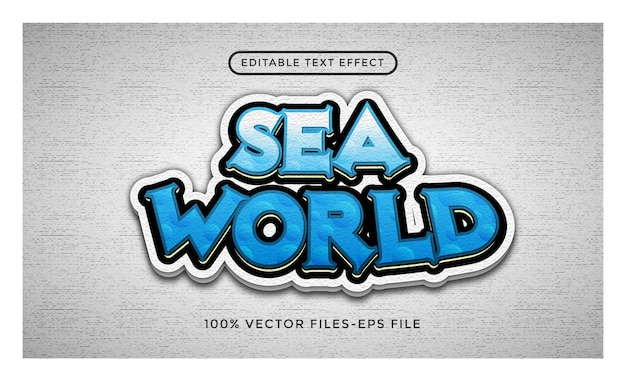 Vetores premium do efeito de texto editável do sea world