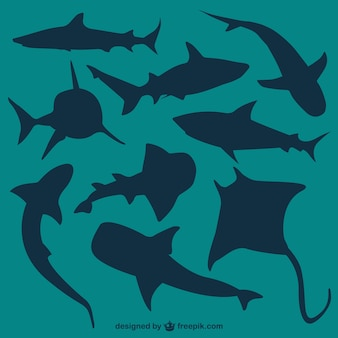 Vetores silhuetas tubarões