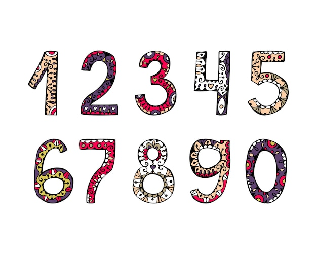 Vetoriais desenhados à mão números ornamentais de fonte decorativa para convites e cartões comemorativos