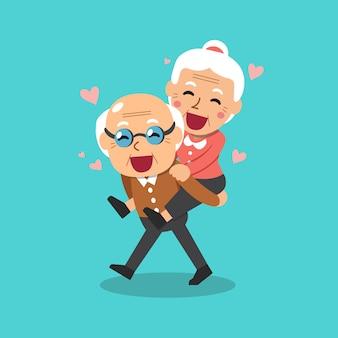 Vetorial, caricatura, ilustração, de, feliz, avós