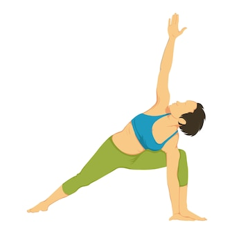 Vetorial, caricatura, ilustração, de, ioga posa