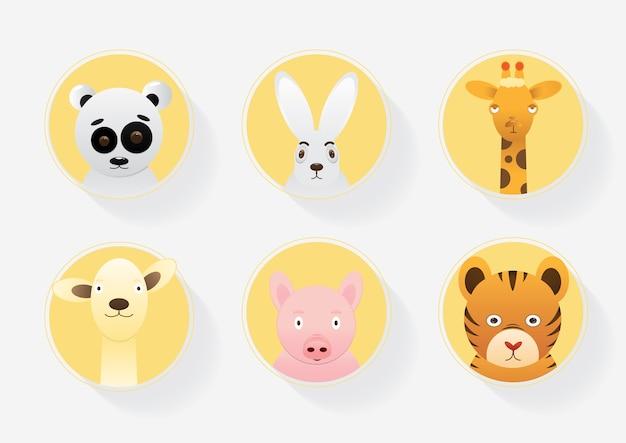 Vetorial, de, caricatura, cute, animais, vetorial, ilustração, para, crianças, educação,