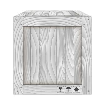 Vetorial, de, cinzento, caixa madeira, branco