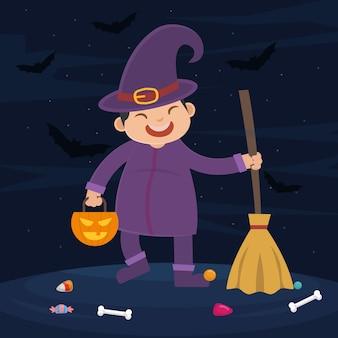 Vetorial, de, criança, bruxa, com, roxo, roupas