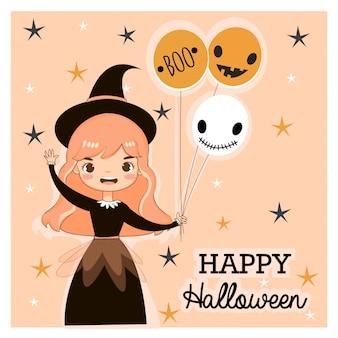 Vetorial, de, cute, bruxa, para, hallooween, cartão cumprimento