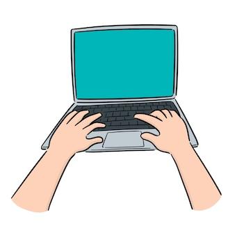 Vetorial, de, mão, usando computador portátil