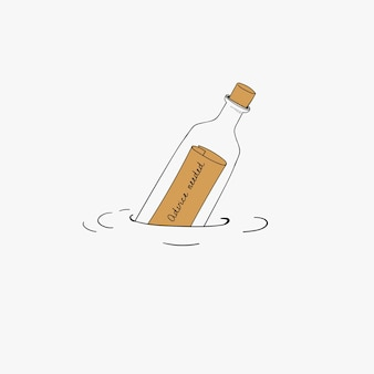 Vetorial, de, mensagem, garrafa