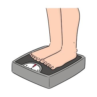 Vetorial, de, pés, ligado, pesando máquina