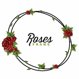 Vetorial, de, rosas, quadro
