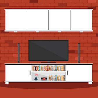 Vetorial, de, sala de estar, com, parede tijolo