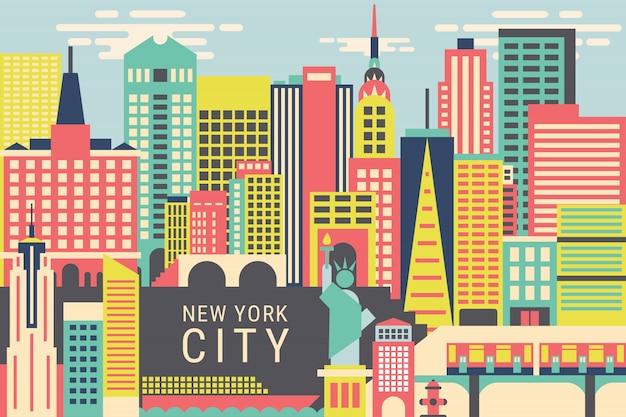 Vetorial, ilustração, cidade nova iorque