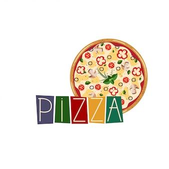 Vetorial, ilustração, com, inteiro, vegetariano pizza, para, caixa pizza