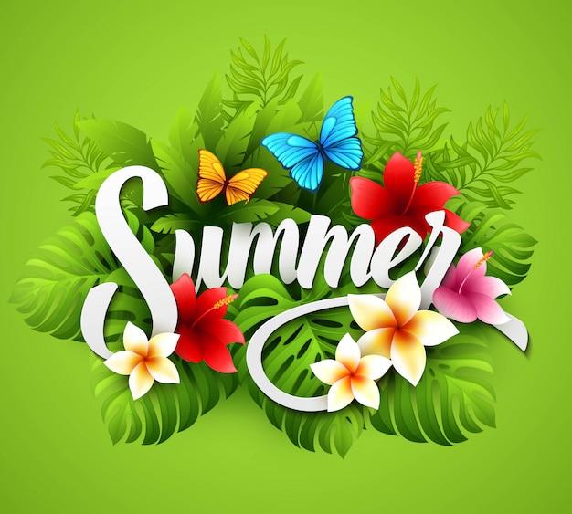 Vetorial, ilustração, com, tropicais, plantas, e, flores