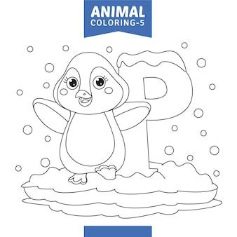 Vetorial, ilustração, de, animal, coloração, página