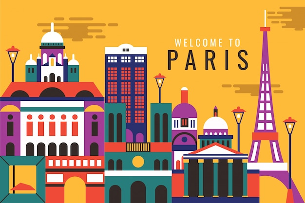 Vetorial, ilustração, de, bem-vindo, para, paris
