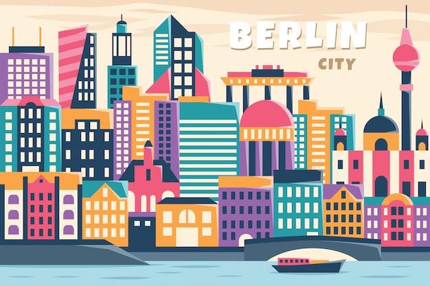 Vetorial, ilustração, de, berlim, cidade