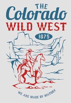 Vetorial, ilustração, de, boiadeiro, montando, um, cavalo, em, a, montanha, de, oeste selvagem, era