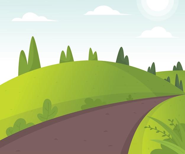 Vetorial, ilustração, de, bonito, campos, paisagem