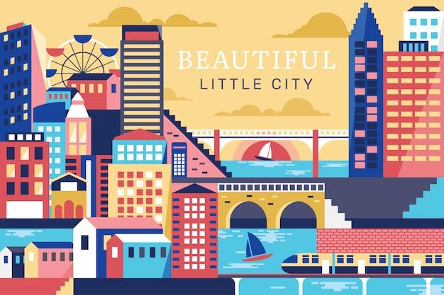 Vetorial, ilustração, de, bonito, cidade