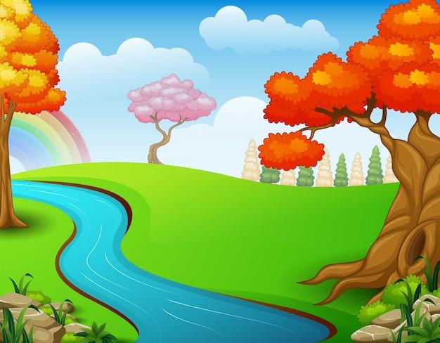 Vetorial, ilustração, de, bonito, outono, paisagem
