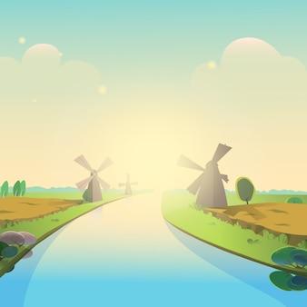 Vetorial, ilustração, de, bonito, paisagem