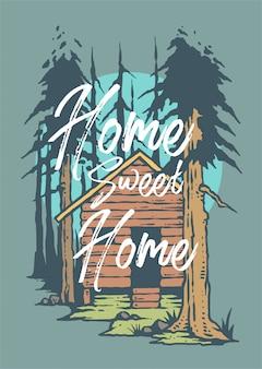 Vetorial, ilustração, de, cabana, em, a, madeiras