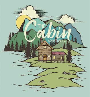 Vetorial, ilustração, de, cabine, ligado, lago