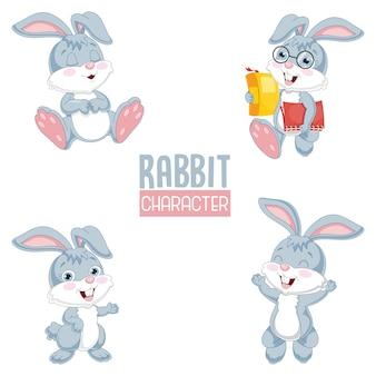 Vetorial, ilustração, de, caricatura, coelho