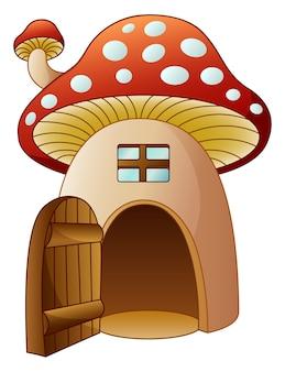 Vetorial, ilustração, de, caricatura, cogumelo, casa, com, porta aberta
