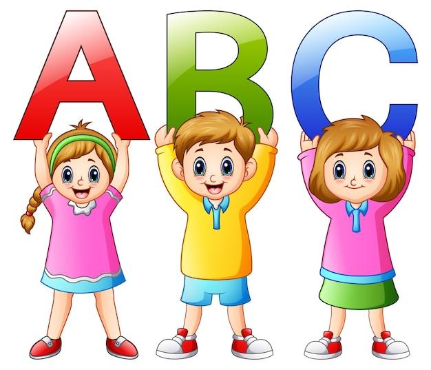 Vetorial, ilustração, de, caricatura, crianças, mostrando, alfabetos