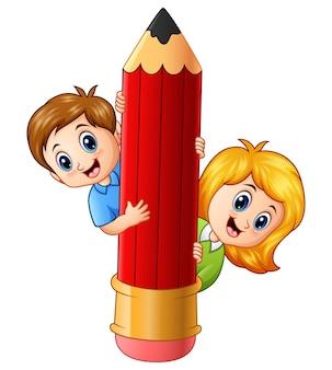 Vetorial, ilustração, de, caricatura, crianças, segurando, lápis