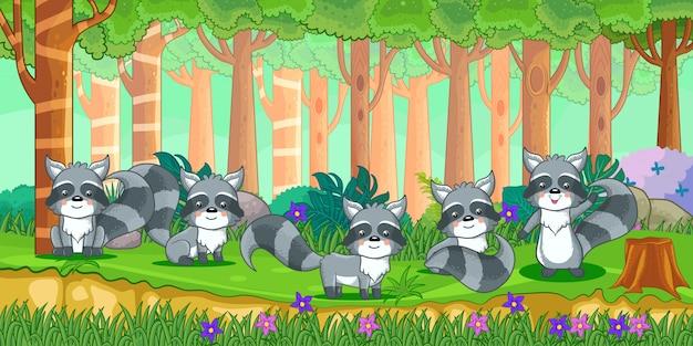 Vetorial, ilustração, de, caricatura, guaxinins, em, a, selva