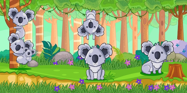 Vetorial, ilustração, de, caricatura, koalas, em, a, selva