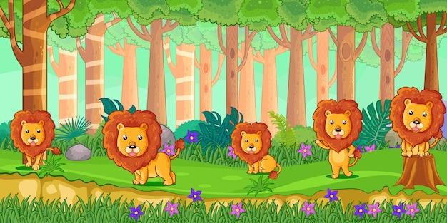 Vetorial, ilustração, de, caricatura, leões, em, a, selva