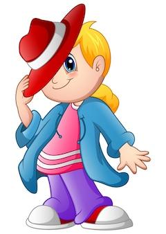 Vetorial, ilustração, de, caricatura, menininha, em, verão, chapéu