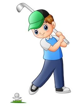 Vetorial, ilustração, de, caricatura, menino, golfe jogando