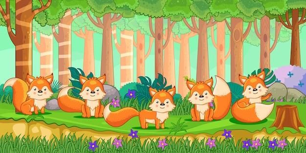 Vetorial, ilustração, de, caricatura, raposas, em, a, selva