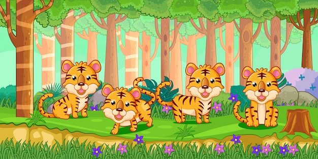 Vetorial, ilustração, de, caricatura, tigres, em, a, selva