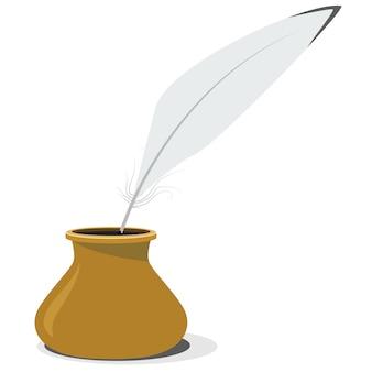 Vetorial, ilustração, de, cerâmica, inkwell, e, caneta