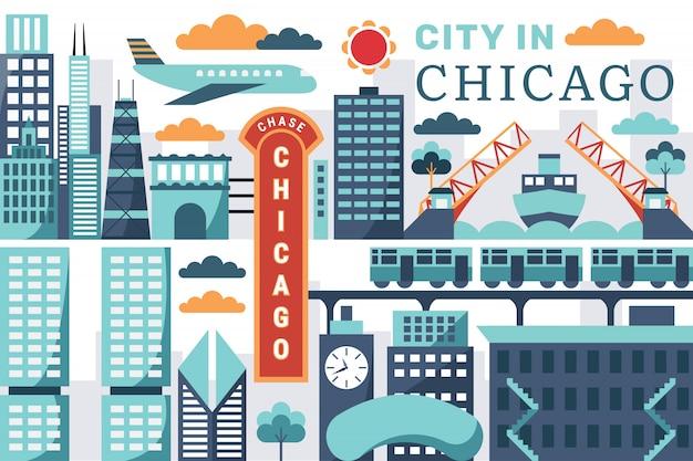 Vetorial, ilustração, de, cidade, em, chicago